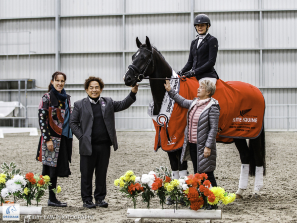 Overall Champion: Nikita Osborn rides SF Austin during the Elite Equine Future Star Prizegiving. 2019 Future Star Dressage Championships at the National Equestrian Center, Taupo. Friday 12 April. Copyright Photo: Libby Law Photography