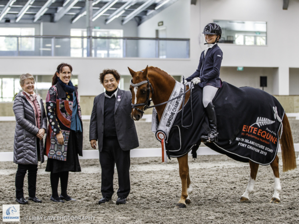 Overall Champion: Claudia Younger rides Sandhill Trussardi during the Elite Equine Pony Future Star Prizegiving. 2019 Future Star Dressage Championships at the National Equestrian Center, Taupo. Friday 12 April. Copyright Photo: Libby Law Photography
